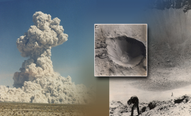 image of explosion and crater from Sudan event