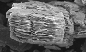 Ordinary kaolinite under an electron microscope.
