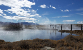 Steam rises from Great Boiling Spring