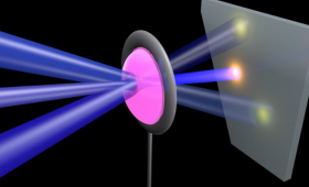 Graphic of laser beams combining
