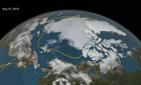 Northern hemisphere taken from space, with sea ice line