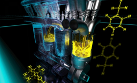 Artist's impression of combustion engine and molecular diagrams