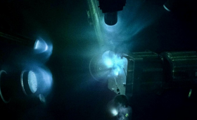 The inside of the target chamber at the Omega Laser