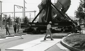 Moving a massive magnet across Laboratory grounds in 1981