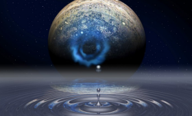 Image of Jupiter with water droplet