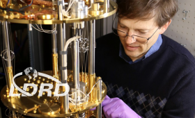Scientist working with quantum computing device