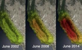 Three drought maps of California