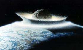 Artist's conception of a comet impact on Earth