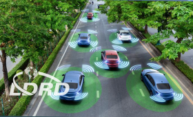 Artist's conception of autonomous vehicles on road