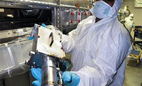 Technician holds a nuclear diagnostic
