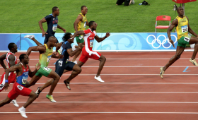 Usain Bolt takes a huge lead in race.