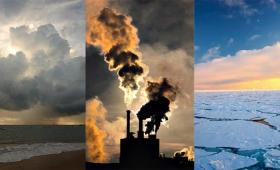 (left) Clouds over dark landscape; (center) power plant with smokestacks; (right) polar ice pack.